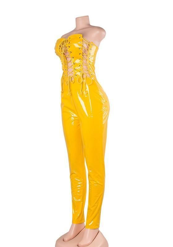 d44916be5338 Yellow Cross Cut Out Lace-up Off Shoulder Backless Vinyl Latex Club Long  Jumpsuit
