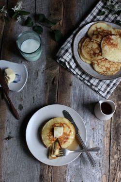 """grayskymorning: """" Lemon + Rosemary Ricotta Pancakes """""""