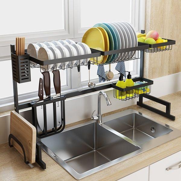 Stainless Steel Kitchen Sink Rack Dish Shelf Organizer Utensils Tableware Drying Storage Supplies Drain Rack In 2020 With Images Kitchen Rack Stainless Steel Kitchen Kitchen Design