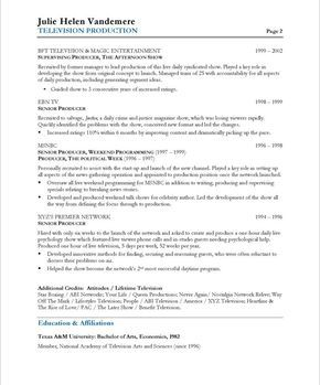 TV Producer Page2 · Free Resume Samples