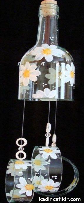 Cam şişe kesme ve papatya çizme boyama ile papatyalı rüzgar çanı cam şişe süs eşyası modeli | Kadınca Fikir