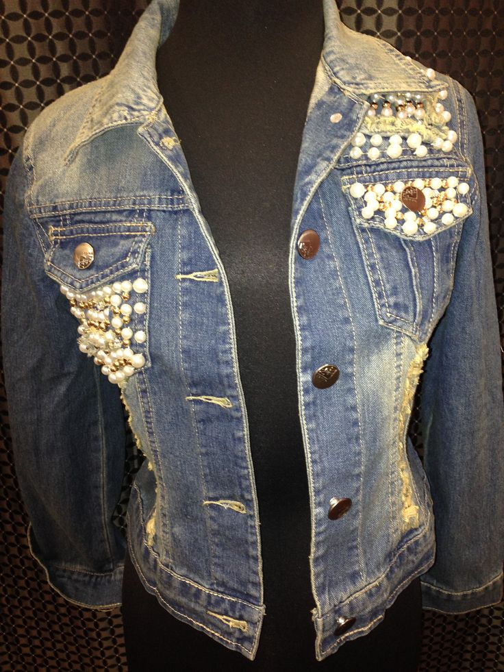 denim lace and pearl denim jacket | Denim and lace in 2019 ...