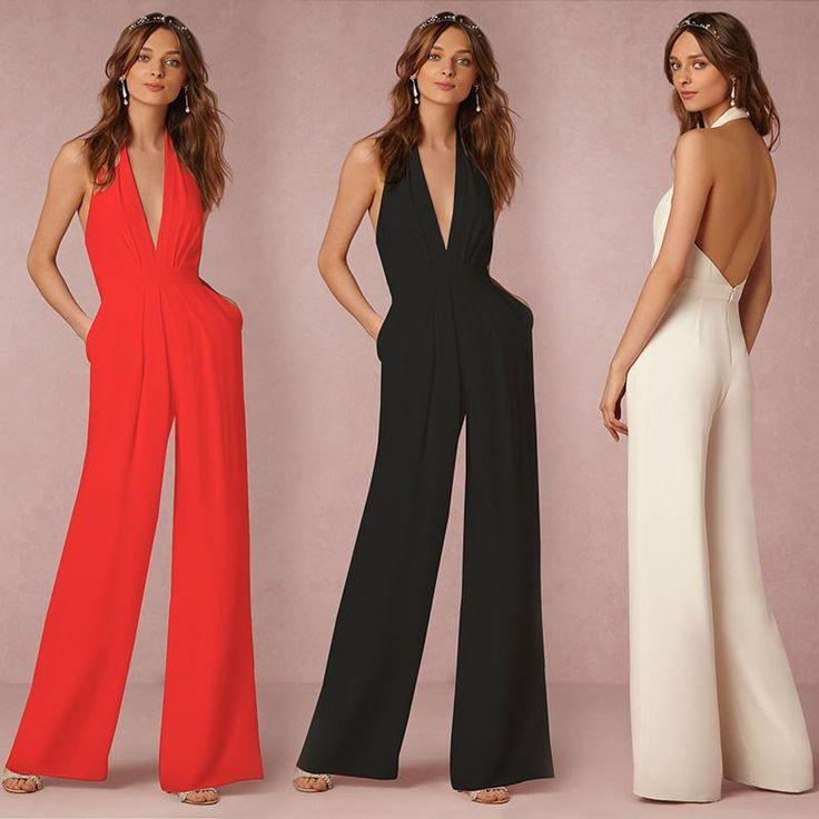 c8ad759a224a 2017Summer High Waist Slim Pocket New Woman Jumpsuit Rompers Halter V-Neck  Sleeveless Harem Fashion