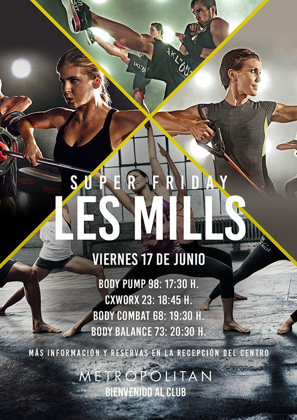 Super Friday Les Mills en Metropolitan Galileo. El próximo viernes, 17 de Junio, presentaremos las nuevas coreografías de Les Mills:  Body Pump 98: 17:30 h.  CxWorx 23: 18:45 h.  Body Combat 68: 19:30 h.  Body Balance 73: 20:30 h.  Más información y reservas en la Recepción del Centro.