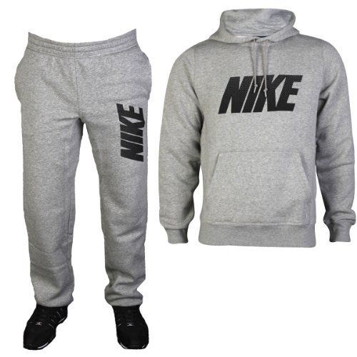 Mens grey nike jersey lounge sports hoody top bottoms for Mercedes benz tracksuit