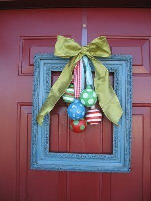 like the frame idea: Christmas Wreaths, Frames Wreaths, Doors Decor, Christmas Doors, Front Doors, Christmas Decor, Wreaths Ideas, Pictures Frames, Diy Christmas