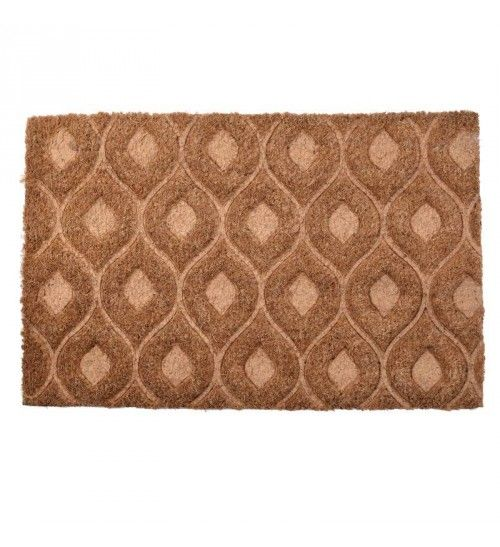 DOORMAT W_PVC BACK AND SYNTHETIC GRASS W_RHOMBUS BEIGE_CREME 40X60