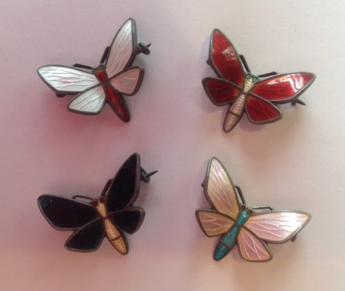 Vintage Einar Modahl Enamel and Sterling Norwegian Butterfly Pins Set of Four | eBay