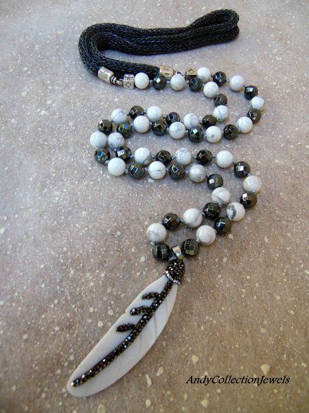 Splendid Women Long Necklace with Grey Hematite, White Howlite stones and White Shell Pave Feather Pendant