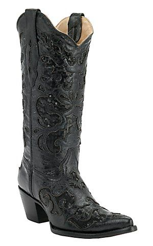 Corral® Ladies Black w/ Black Sequined Inlay Pointed Toe Western Boots | Cavender's Boot City- think I like these  better!! Black cowboy boots