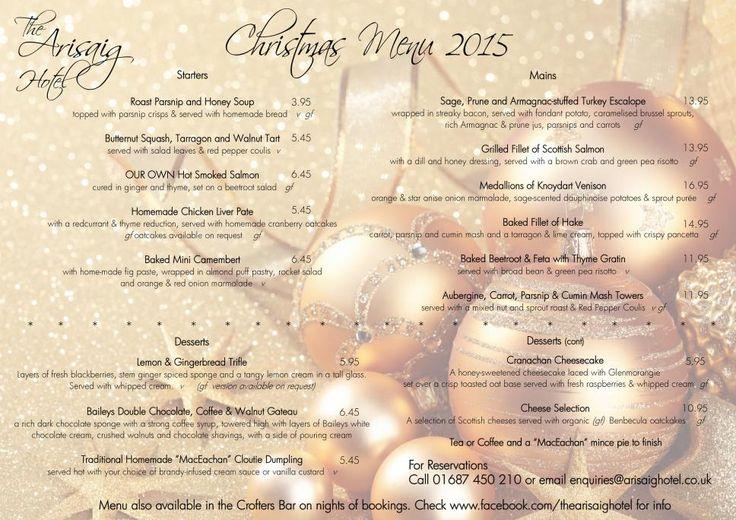Arisaig Hotel Christmas Menu 2015