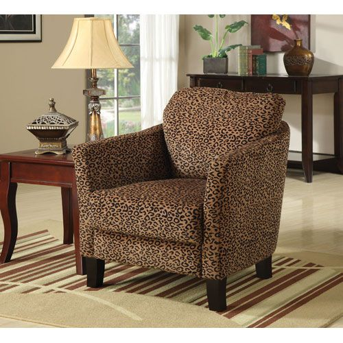 Leopard Print Jungle Accent Chair With Plush Seating Coaster Furniture  Armless Chairs Acce