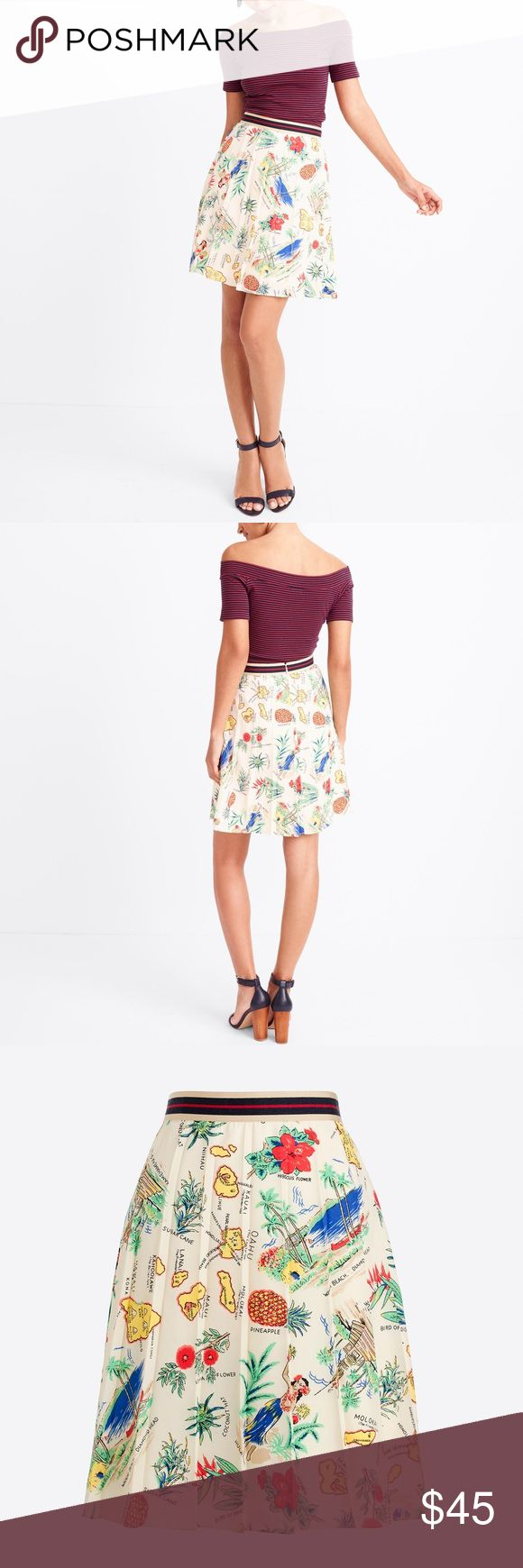 """J.Crew Factory Printed & Pleated Skirt Size 10 NWT In excellent condition! J.Crew Factory Printed & Pleated Skirt. Size 10. NWT! Damage stain and smoke free. Reasonable offers are welcome! Fitted at waist. Sits above waist. 21"""" long. Falls to knee. Back zip. Lined. Machine wash. Poly. J. Crew Factory Skirts"""