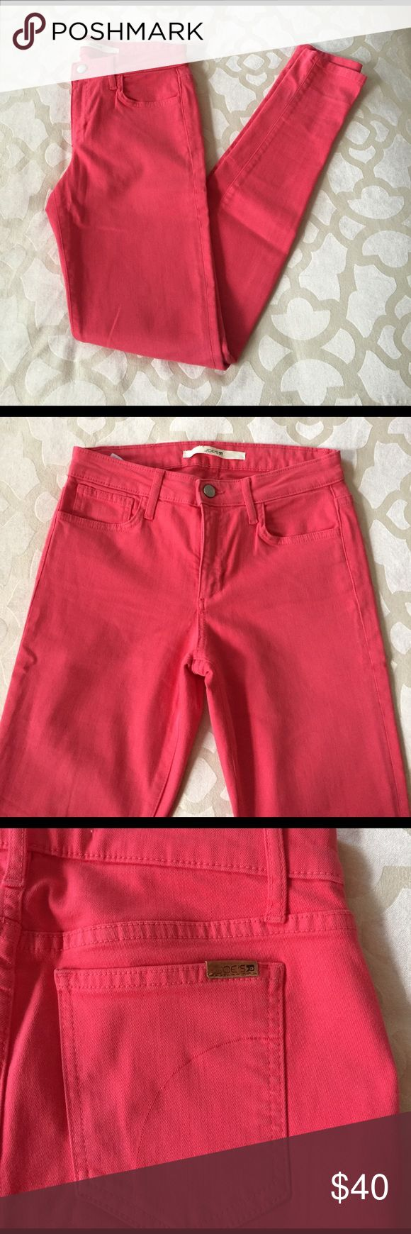 Joe's Jeans skinny coral jeans Coral jeans in perfect condition. Never hemmed so they can be cuffed to desired length Joe's Jeans Jeans Skinny