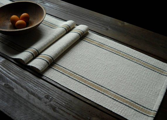 Rustic Farmhouse Table Runner Handwoven Cotton Linen