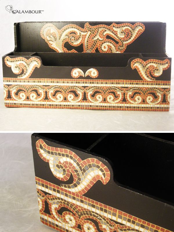 WOODEN BRIEFCASE - Greco roman style decoration done with Calambour paper for decoupage /// PORTA DOCUMENTI IN LEGNO - Decorazione originale nello stile dell'epoca greco-romana, decorato con la carta per il decoupage di Calambour http://www.calambour.it/en/our-papers/paper-for-classic-decoupage/ad.html#!AD_007