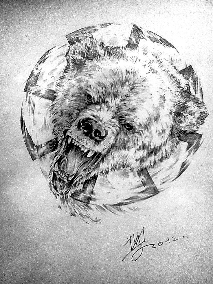 медведь-коловрат  арт для тату
