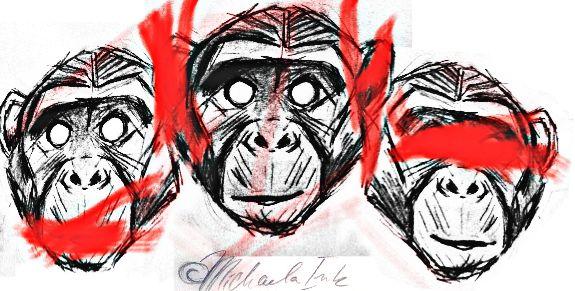 Trash polka 3 wise monkey  tattoo design ©michaela Ink
