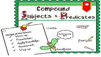 This is a simple yet great, fun and interactive MS Power Point presentation on compound subjects and predicates. My students love it! I love it!I know there is a lot of information around. However, I wanted something more specific for my pupils, just enough for 5th grade standards.