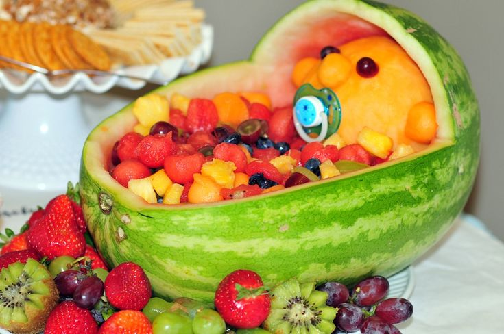 decorative watermelon baskets with fruit | How cute is the fruit basket baby my Aunt Barb made?