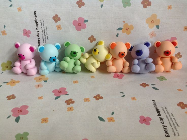 Polymer clay little bears great to decorate a kids room or turn into jewellry