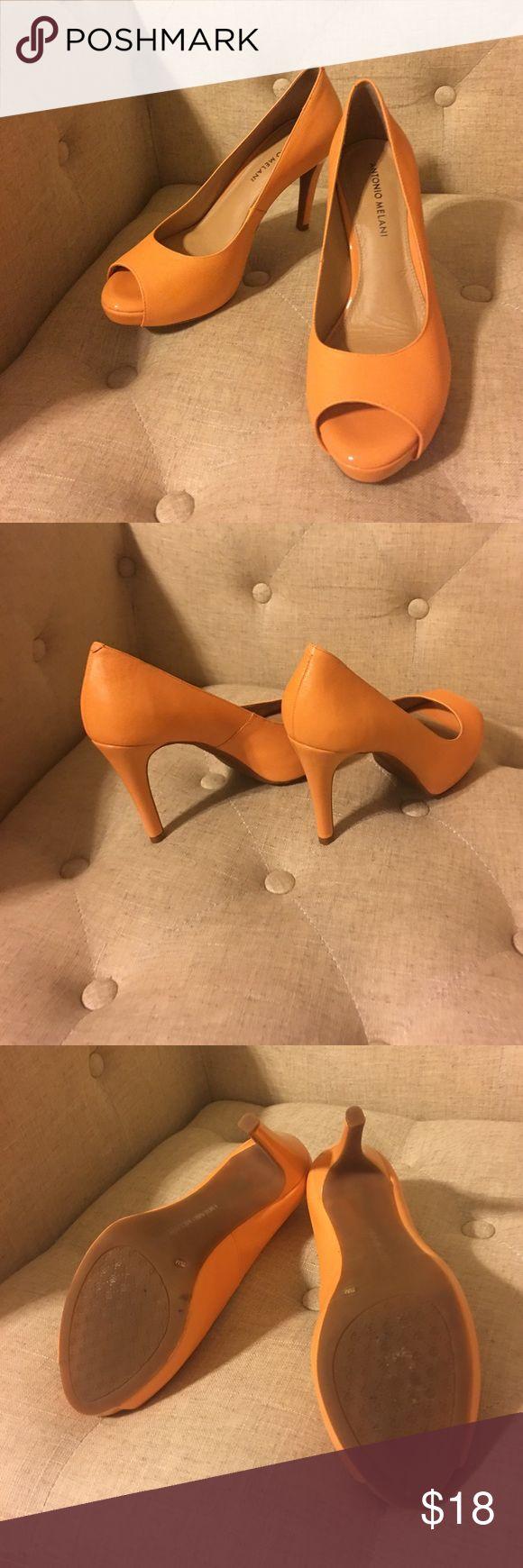 """Antonio Melani Sorbet Orange Pumps 7.5M, Heel 4"""" Antonio Melani Sorbet Orange Pumps 7.5M, Heel 4"""". Wore once. Peep toe. ANTONIO MELANI Shoes Heels"""