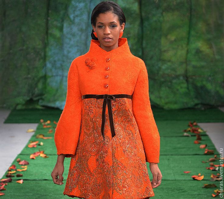 """Купить авторское пальто ручной работы из шерсти и шелка """"цвет жизни"""" - рыжий, яркое пальто"""