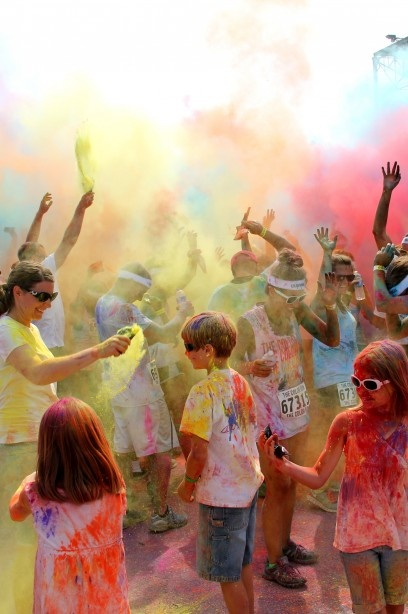 Color run somehow?  -Beware environmental issues  -Beware mess issues for the landscape