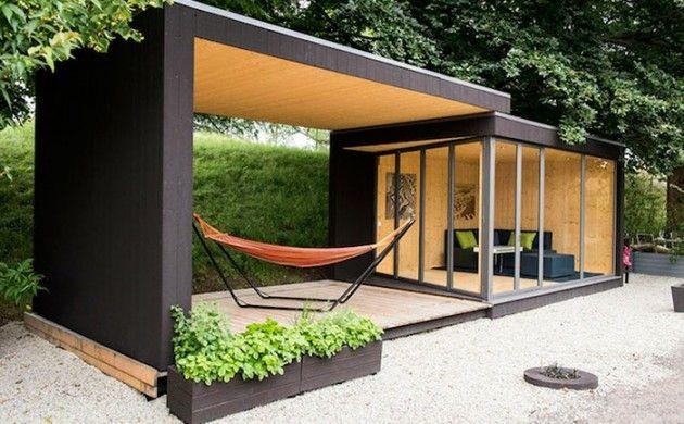 gartenhaus ideen gartenpavillion gerade linien moderne architektur