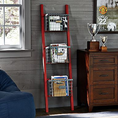 Ladder Shelf - could do something like this for half bathroom some kinda magazine rack