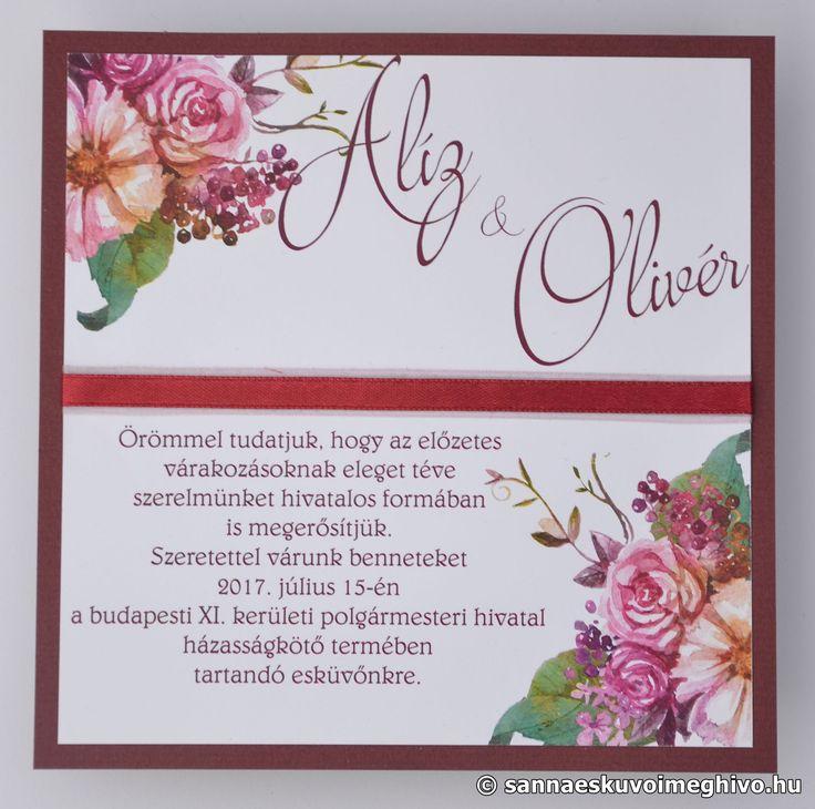 Buja természet esküvői meghívó, meghívó, piros esküvői meghívó, szalagos esküvői meghívó, sannaeskuvoimeghivo, egyedi esküvői meghívó, wedding card