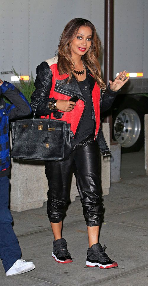 Splurge: Lala Anthony's New York Knicks Game Acne Merci Colorblock Red, Black, and Beige Leather Jacket
