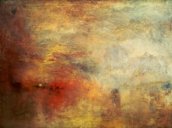 J.M.W.Turner. Sun Setting over a Lake. 1840. Oil on canvas, 91 x 122.5 cm. Tate Gallery, London