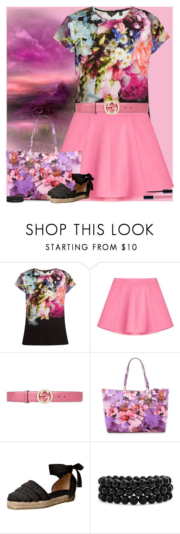 """""""Bez naslova #3027"""" by gita016 ❤ liked on Polyvore featuring Ted Baker, RED Valentino, Gucci, New Directions, Castañer, Bling Jewelry and Christian Dior"""