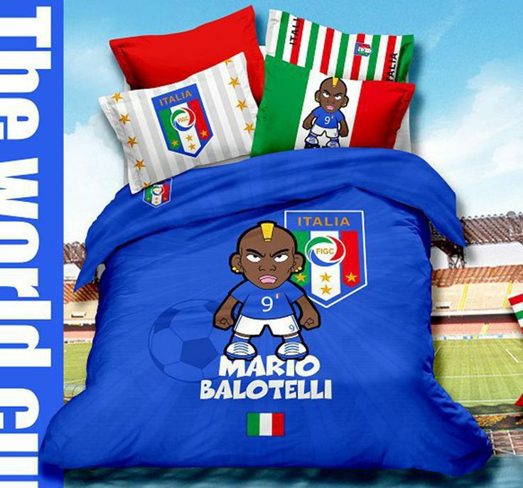 2014 World Cup Cartoon Mario Balotelli Italian Soccer Team Queen Size Bedding Set 100% Cotton Duvet Cover Bedsheet Pillowcase $96.00