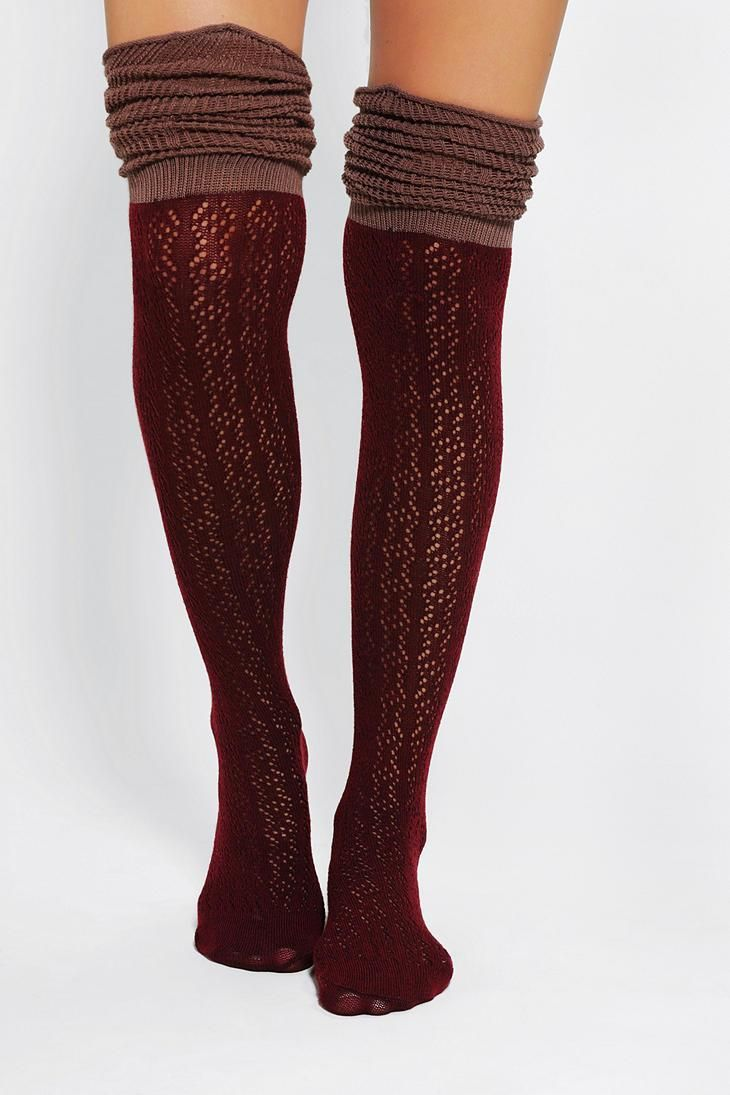 Scrunchy over-the-knee socks. #urbanoutfitters