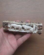 Wolf Group Handle in Antler, Bali Bone Carving   ---GREAT--- 01120217