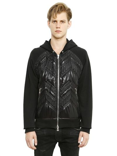BALMAIN - HOODED PADDED NYLON & COTTON SWEATSHIRT - LUISAVIAROMA - LUXURY SHOPPING WORLDWIDE SHIPPING - FLORENCE