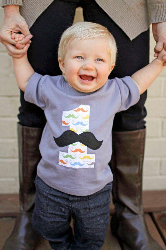 Little Man Mustache Birthday Party Tshirt Boys Tops by WeChooseJoy, $19.95