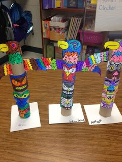 LESSON A: Totem Poles.  This pin brings us to a page with totem pole craft ideas (plus more)