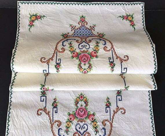 Embroidered Cotton Table Runner Cross Stitch Embroidery Table