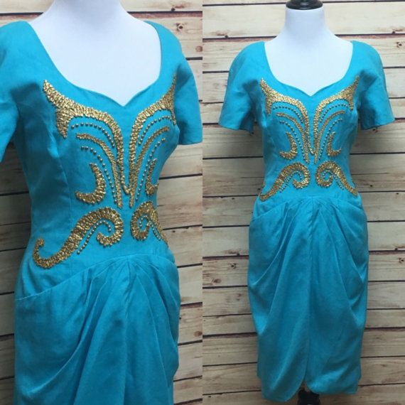 Mignon New York lin taille 10 robe bleue par KittyVintageBoutique