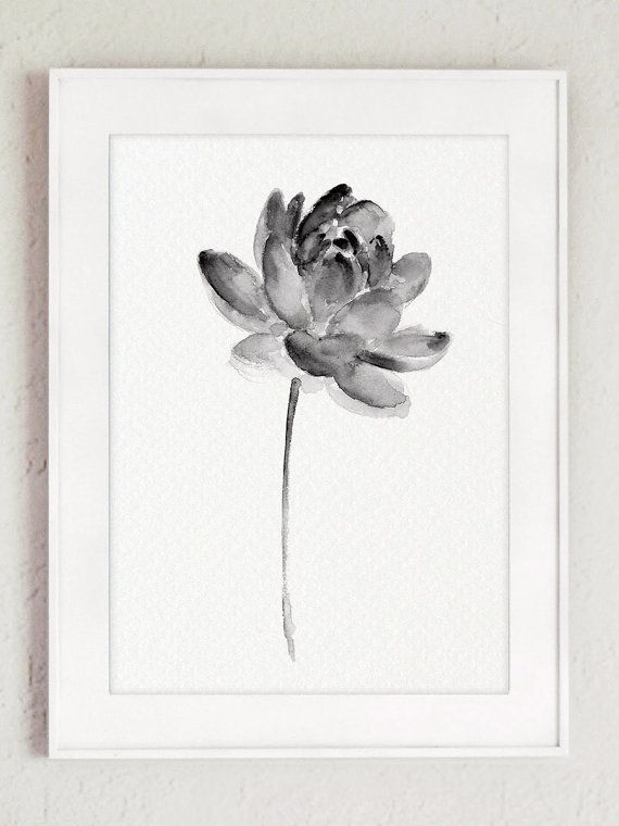 Lotus Set 2 Print Asian Flowers Abstract by ColorWatercolor