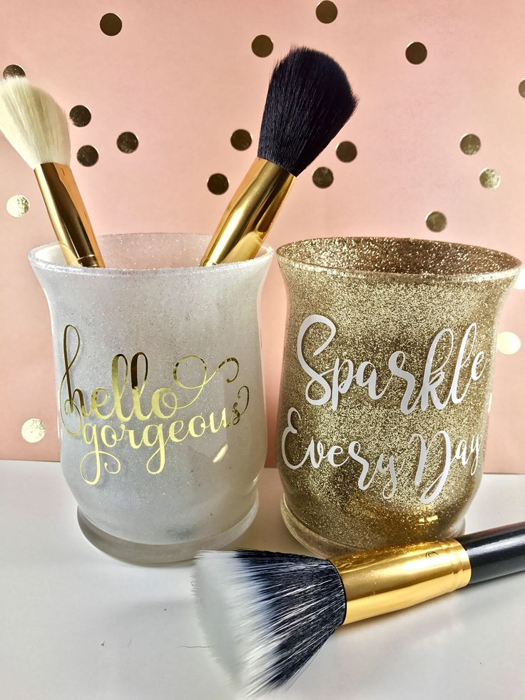 A personal favorite from my Etsy shop https://www.etsy.com/listing/513732752/makeup-brush-holder-glitter-brush-holder