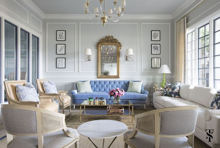 Lounge, Blue Sofa, French Gilt Mirror, Drapery Panels With Greek Trim @summerthorntondesign