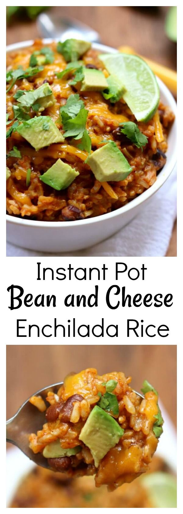 Instant Pot Cheesy Enchilada Rice–brown rice is pressure cooked with enchilada sauce and spices in minutes and then topped with sharp cheddar, diced avocado and a wedge of lime.