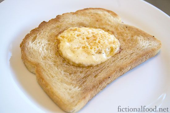 """The one food mentioned from V for Vendetta - """"Eggie in a Basket""""     An piece of toast with a hole stamped in the middle and an egg put inside and cooked!: Pornographi Recipes, Food Recipes, Movie Recipes, Eggs In A Hol"""