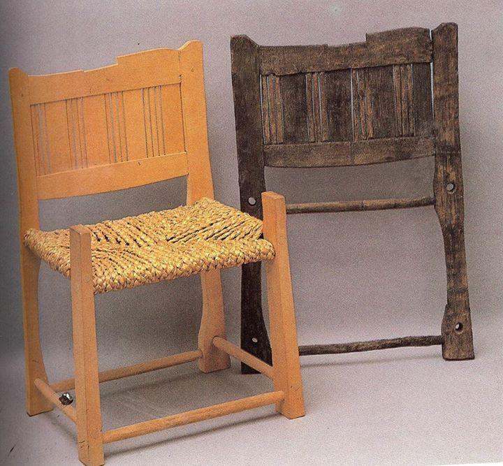 11th century Lund, Sweden. Chair (original part and reconstruction). 75cm high