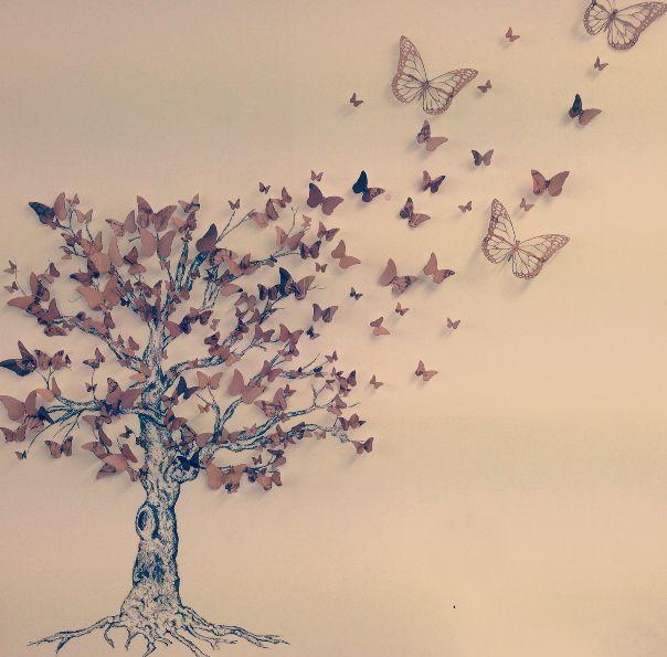 GCSE art final Butterfly nature tree GCSE art design canvas a level free beige white black pretty