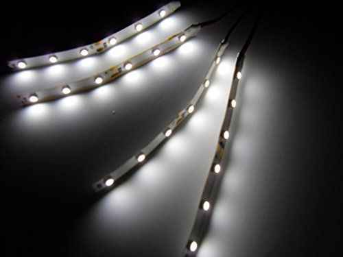 """4 Water resistant, not Waterproof 4"""" White LED Strips 6 Superbright LEDs per strip. Fully tested (No DOA)"""